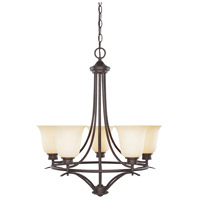 Montego 5 Light 23 inch Oil Rubbed Bronze Chandelier Ceiling Light in Satin Bisque