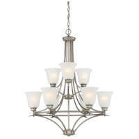 Montego 9 Light 29 inch Matte Pewter Chandelier Ceiling Light in Frosted