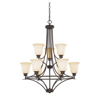 Montego 9 Light 29 inch Oil Rubbed Bronze Chandelier Ceiling Light in Satin Bisque