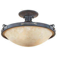 Austin 3 Light 120 Weathered Saddle Semi-Flush Ceiling Light