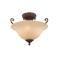 Amherst 3 Light 120 Burnt Umber Semi-Flush Ceiling Light
