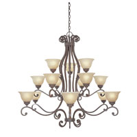 Designers Fountain Del Mar 15 Light Chandelier in Warm Pecan 977815-WP