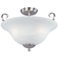 Stratton 3 Light 120 Satin Platinum Semi-Flush Ceiling Light in Faux Alabaster