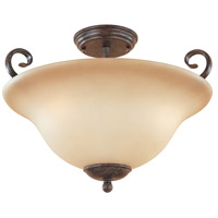 Stratton 3 Light 120 Warm Mahogany Semi-Flush Ceiling Light in Amber Sandstone