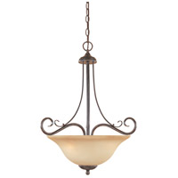 Stratton 3 Light 120 Warm Mahogany Pendant Ceiling Light in Amber Sandstone