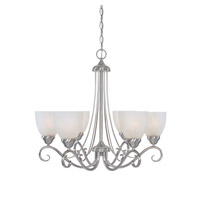 Stratton 6 Light 25 inch Satin Platinum Chandelier Ceiling Light in Faux Alabaster