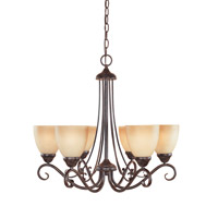 Stratton 6 Light 25 inch Warm Mahogany Chandelier Ceiling Light in Amber Sandstone