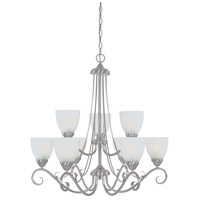 Stratton 9 Light 30 inch Satin Platinum Chandelier Ceiling Light in Faux Alabaster