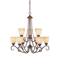 Stratton 9 Light 30 inch Warm Mahogany Chandelier Ceiling Light in Amber Sandstone