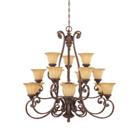 Designers Fountain Astor Manor 15 + 1 Light Chandelier in Burnt Umber 987815-BU