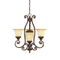 Designers Fountain Astor Manor 3 + 1 Light Chandelier in Burnt Umber 98783-BU