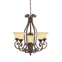 Designers Fountain Astor Manor 5 + 1 Light Chandelier in Burnt Umber 98785-BU