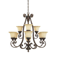 Designers Fountain Astor Manor 9 + 1 Light Chandelier in Burnt Umber 98789-BU