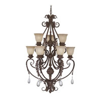 Designers Fountain San Mateo 9 Light Chandelier in Ancient Oak ES9149-AO