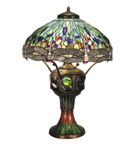 Dale Tiffany Blue Dragonfly 3+1 Light Table Lamp in Antique Verde -0007/273E photo