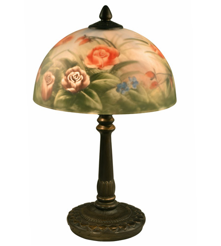 Dale Tiffany Rose Dome Table Lamp 2 Light in Antique Bronze 10057/610 photo