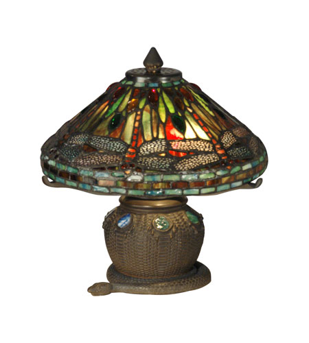Dale Tiffany Dragonfly Replica Lamp 2 Light in Antique Bronze 101205 photo