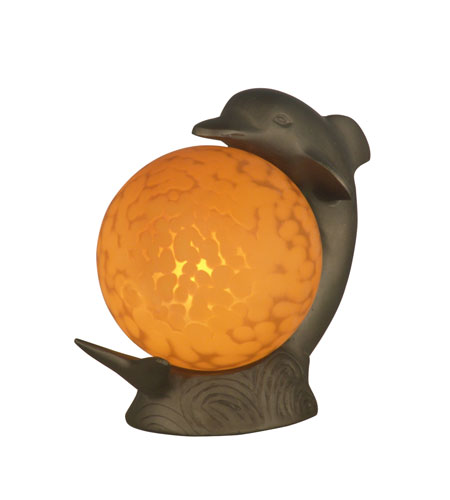 Dale Tiffany Dolphin Accent Lamp 1 Light in Antique Brass Plating 1610 photo