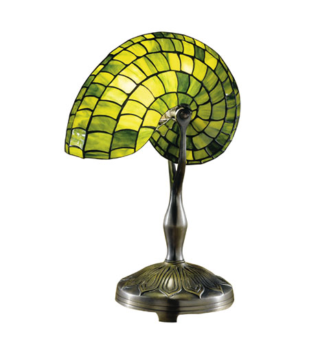 Dale Tiffany Green Nautilus Table Lamp 1 Light in Antique Bronze Paint 2115/177 photo