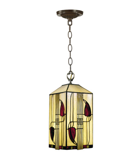Dale Tiffany Henderson Mackintosh Foyer Fixture 1 Light in Antique Brass 2727/1LTA photo