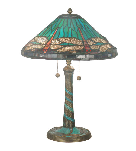 Dale Tiffany Blue Cone Dragonfly 2 Light Table Lamp in Antique Bronze 3666/206 photo