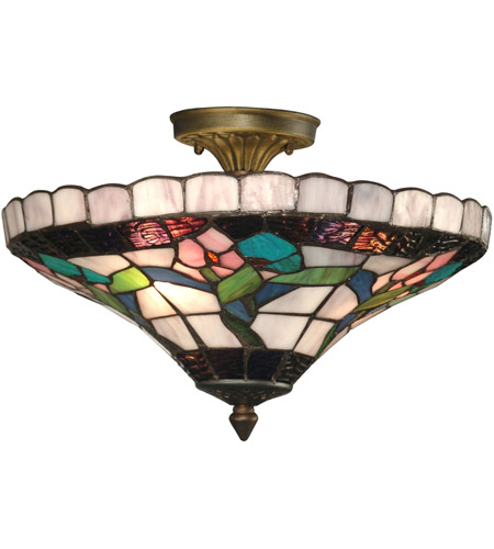Dale Tiffany 7096/3LTF Hollyhock 3 Light 15 inch Antique Brass Plating Flush Mount Ceiling Light photo