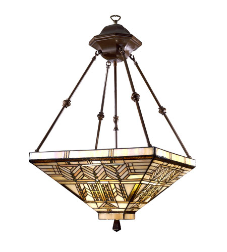 Dale Tiffany Oak Park Mission Inverted Fixture 3 Light in Antique Bronze 7437/3LTY photo