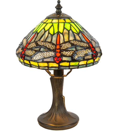 Dale Tiffany 7601/521 Dragonfly 11 inch 60 watt Antique Brass Accent Lamp Portable Light photo