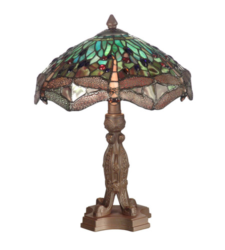 Dale Tiffany Dragonfly With Platform Base Table Lamp 2 Light in Antique Bronze Plating 7703/637 photo