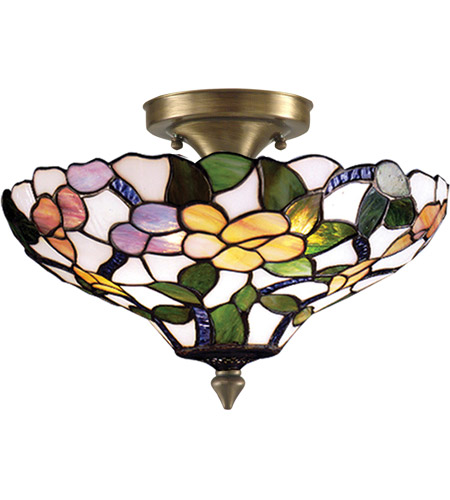Dale Tiffany 7966/3LTF Peony 3 Light 15 inch Antique Brass Semi Flush Mount Ceiling Light photo