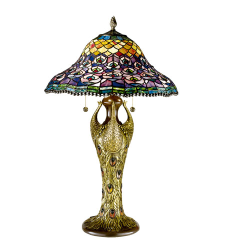 Dale Tiffany Peacock Tail 3+1 Light Table Lamp in Antique Bronze 7976/291 photo