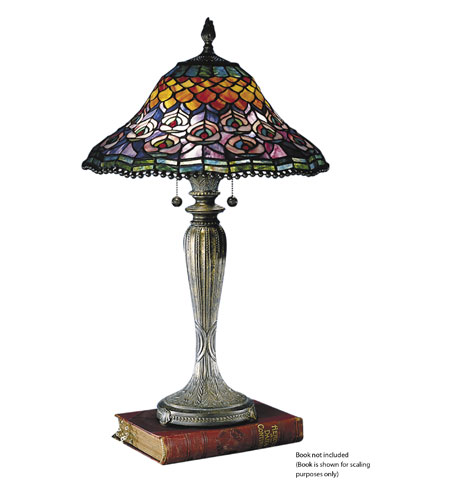 Dale Tiffany Peacock Tail Table Lamp 2 Light in Fieldstone 8503/767 photo