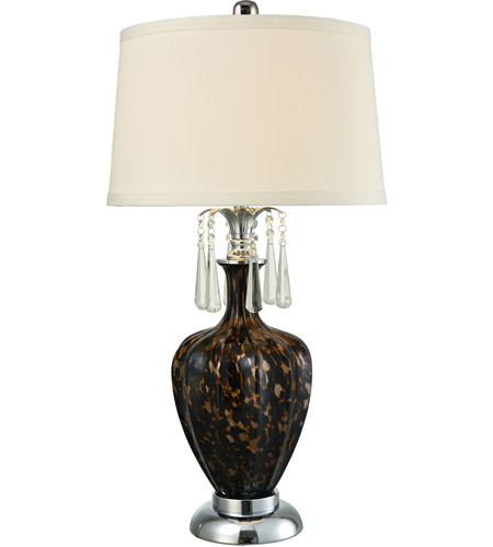 Polished Chrome Art Glass Table Lamps