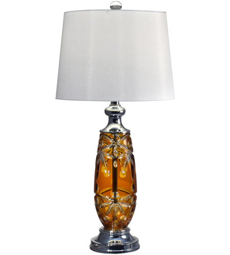 Dale Tiffany GT17084 Glossy Amber 29 inch 150 watt Polished Chrome Table Lamp Portable Light