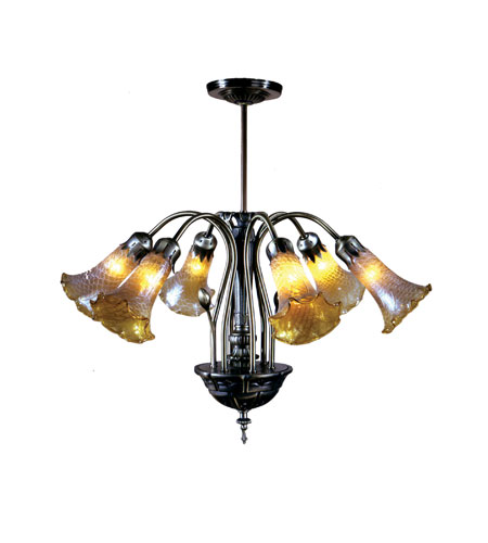 Dale Tiffany Lilies Favrile Fixture 6 Light in Antique Brass MH100326 photo