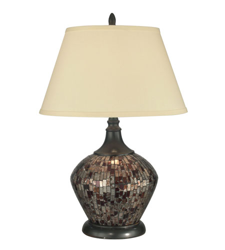Dale Tiffany Amber Shell Mosaic Table Lamp 1 Light in Dark Antique Bronze PG10363 photo
