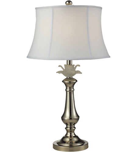 Dale Tiffany PT14329 White Flower 26 inch 150 watt Polished Nickel Table Lamp Portable Light photo thumbnail