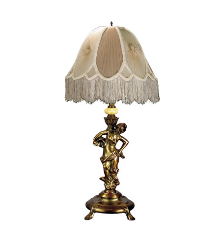 Dale Tiffany Lady Beige Table Lamp 1 Light in Antique Bronze PT60085 photo