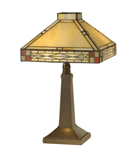 Dale Tiffany TA10490 Tiffany 14 inch 60 watt Antique Brass Accent Lamp Portable Light photo