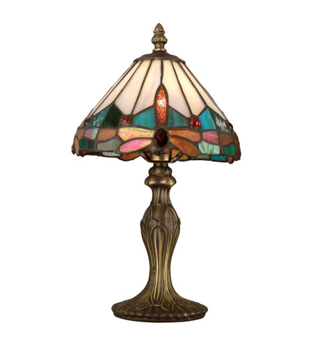 Dale Tiffany Tiffany Jewel Dragonfly Accent Lamp 1 Light in Antique Brass Plating TA10606 photo