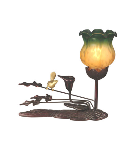 Dale Tiffany Tiffany Tulip Accent Lamp - Green Amber 1 Light in Antique Bronze Paint TA10799 photo