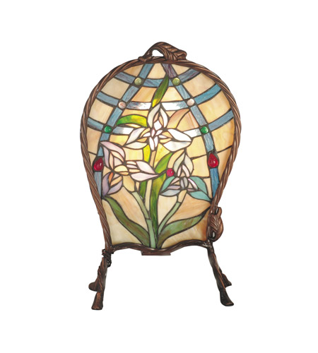 Dale Tiffany TA60469 Floral Panel 17 inch 40 watt Antique Brass Accent Lamp Portable Light photo