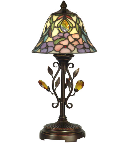 Dale Tiffany TA90215 Crystal Peony 15 inch 60 watt Antique Golden Sand Accent Lamp Portable Light photo