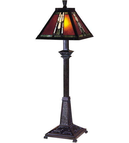 Dale Tiffany Amber Monarch Buffet Table Lamp 1 Light in Mica Bronze TB100715 photo