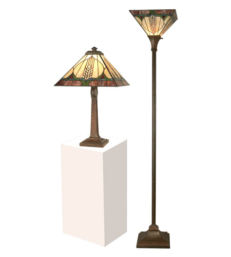 Dale Tiffany TC11173 Stanford 22 inch 75 watt Antique Brown Table and Torchiere Set Portable Light photo