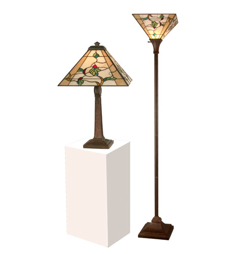 Dale Tiffany TC11174 Green Leaf 22 inch 75 watt Antique Brown Table and Torchiere Set Portable Light photo