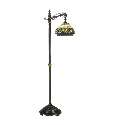 dale tiffany lewellen bridge 1 light floor lamp in antique bronze sand. Black Bedroom Furniture Sets. Home Design Ideas