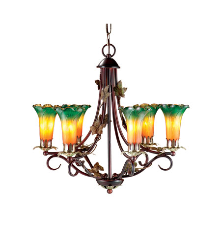 Dale Tiffany Lily 6 Light Chandelier in Antique Bronze TH101144 photo