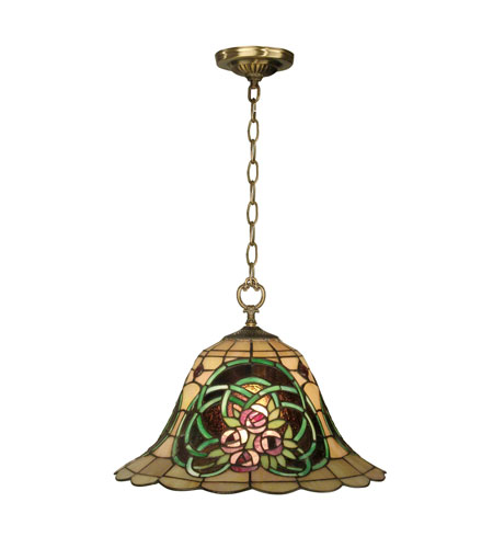 Dale Tiffany Triple Rose Tiffany Hanging Fixture 1 Light in Antique Brass TH10506 photo