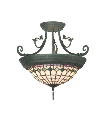 Dale Tiffany Diamond Edge Tiffany Hanging Fixture 4 Light in Verdigris TH10962 photo